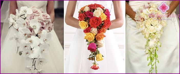 Cascade shape wedding flowers composition