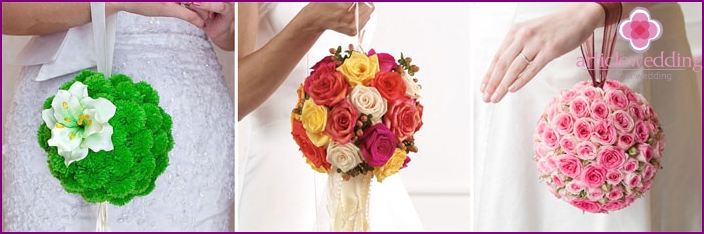 Wedding flowers in the shape of the ball