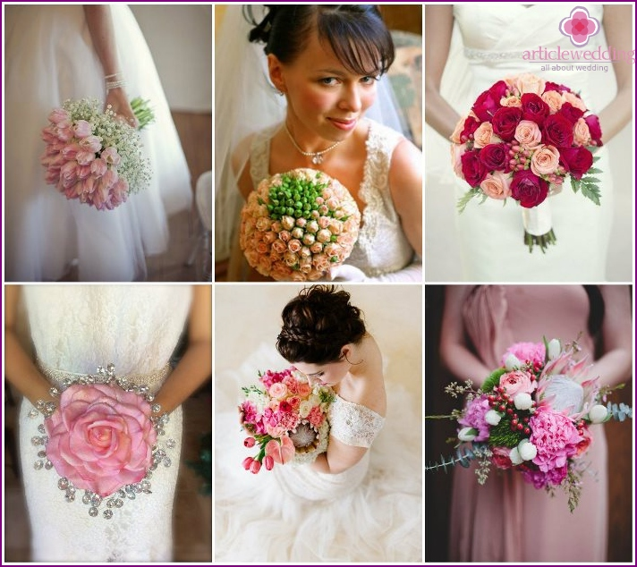 Bridal bouquet in pink shades