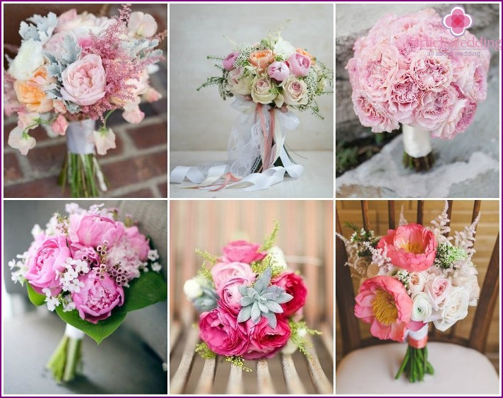 Flower accessory bride with pinkish peonies