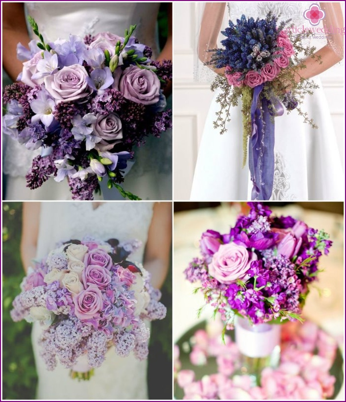 Bridal bouquet with roses and lilacs