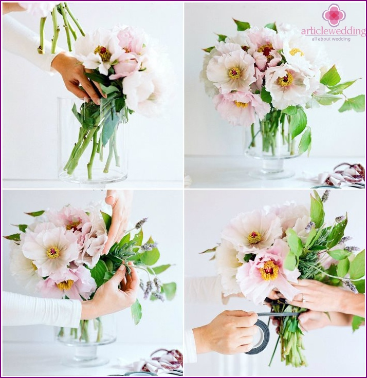 How to create a wedding flower arrangement with peonies