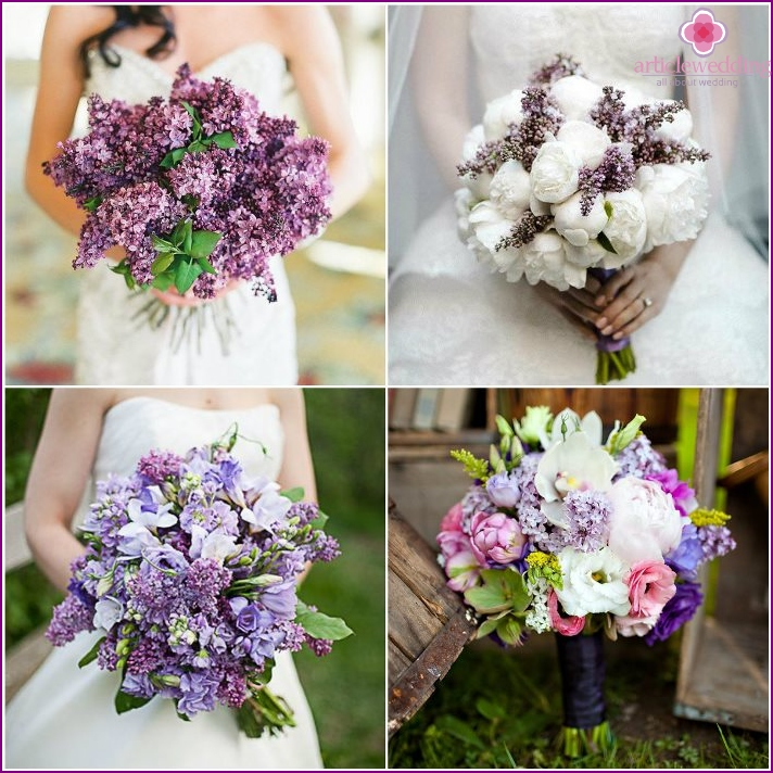 Beautiful bouquets of lilac for a wedding