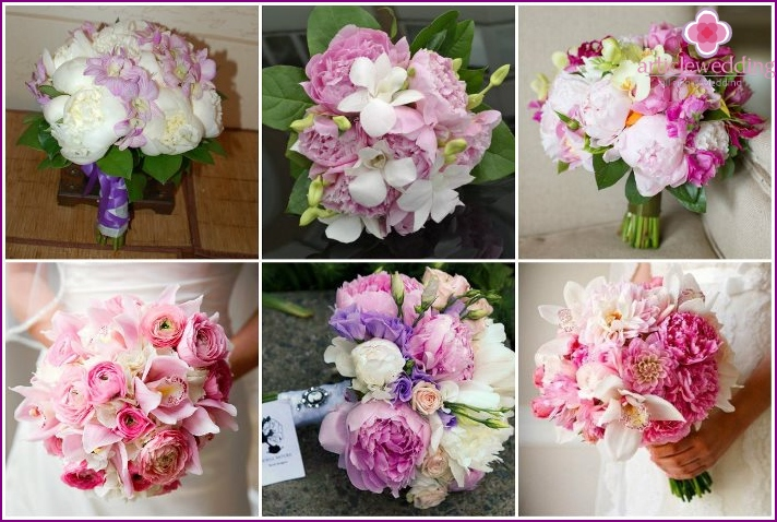 Peonies and orchids in wedding bouquet