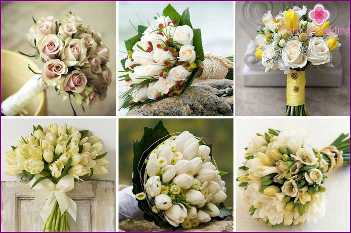 Spring bridal bouquet in green and cream design