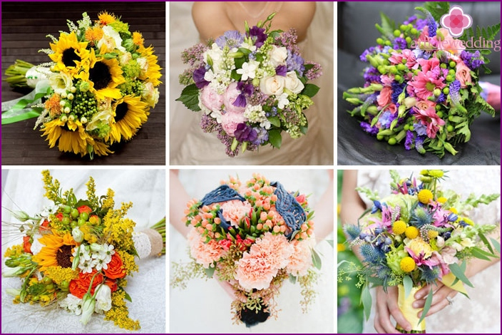 Bright spring flower arrangement for a bride