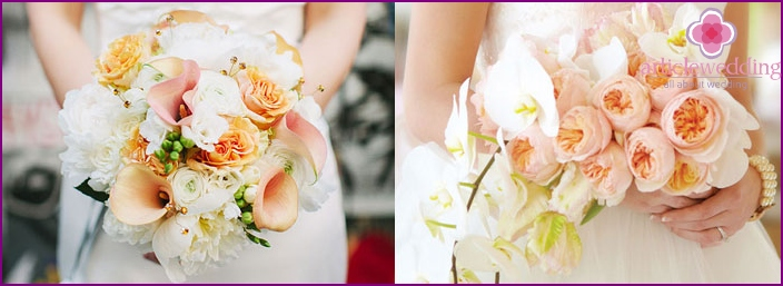 Forms of wedding bouquets for the bride