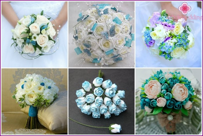 Wedding arrangement in turquoise tones with roses