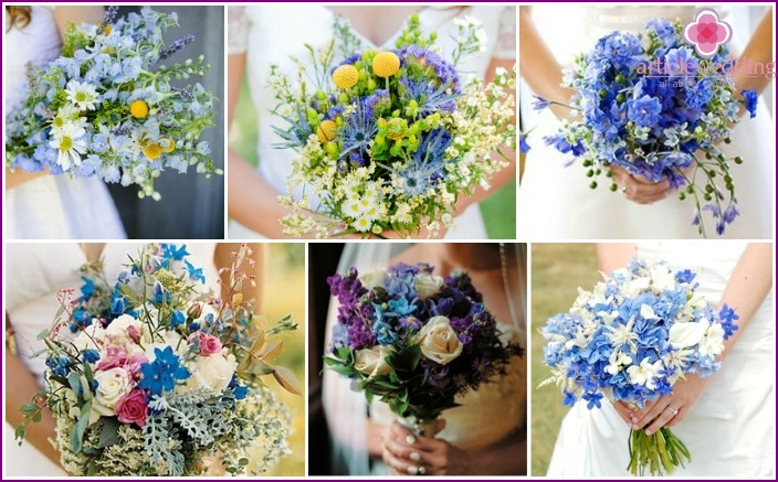 Turquoise wild flowers in the wedding composition