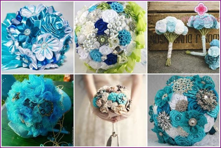 The composition of flowers of turquoise ribbons
