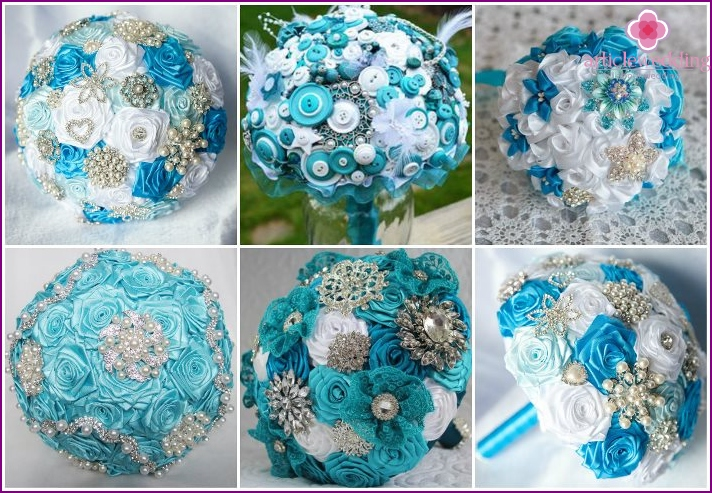 Wedding bouquet turquoise brooch