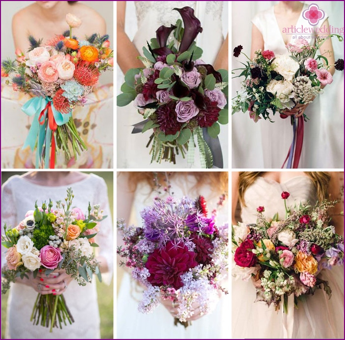 Disheveled bride's bouquets