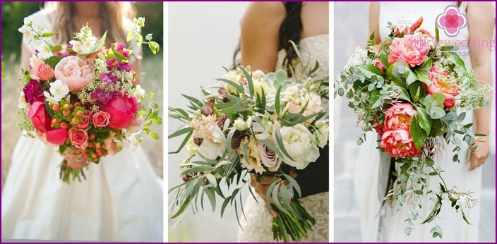 Bouquets of peonies and green