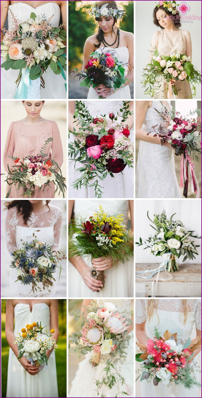 Disheveled wedding bouquets