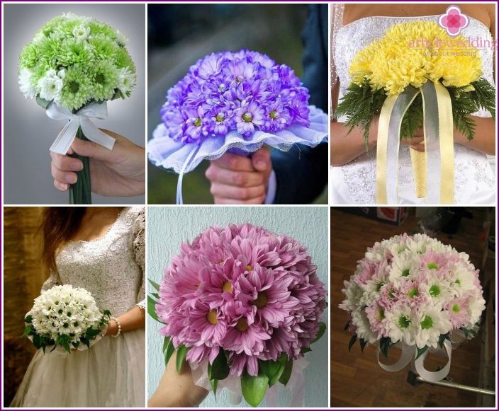 Chrysanthemum bouquet on wedding for the bride