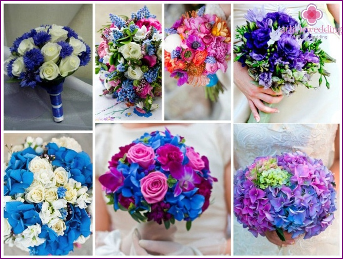 The variety of colors in blue wedding flowers