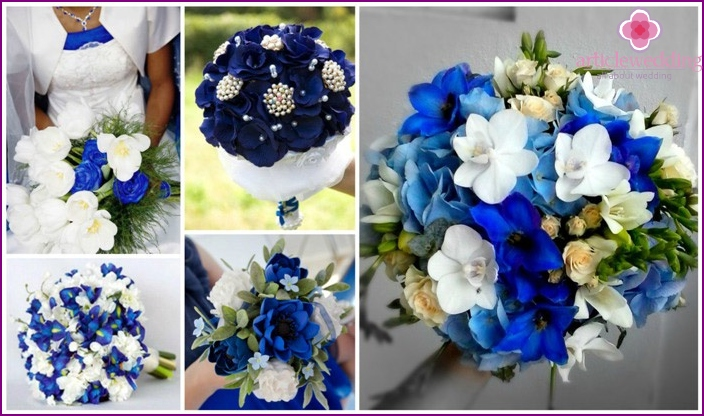 The predominance of blue flowers in a bouquet