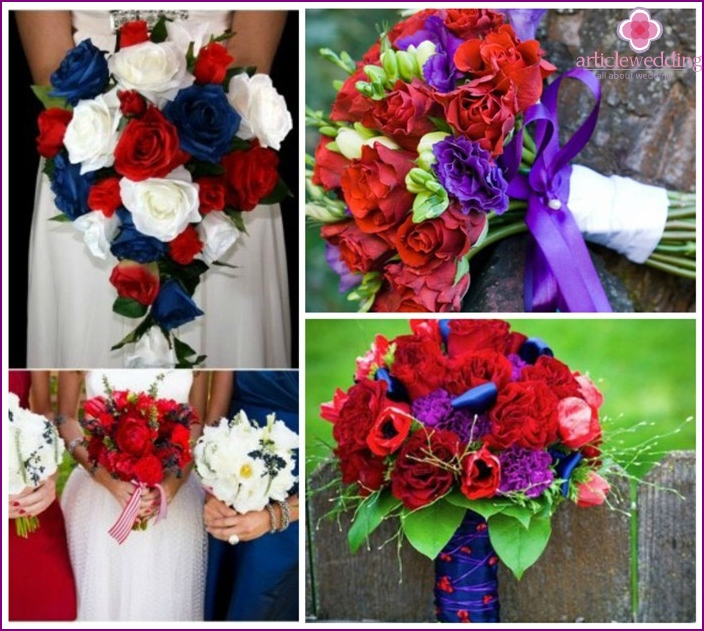 Red-blue range of colors in a bouquet