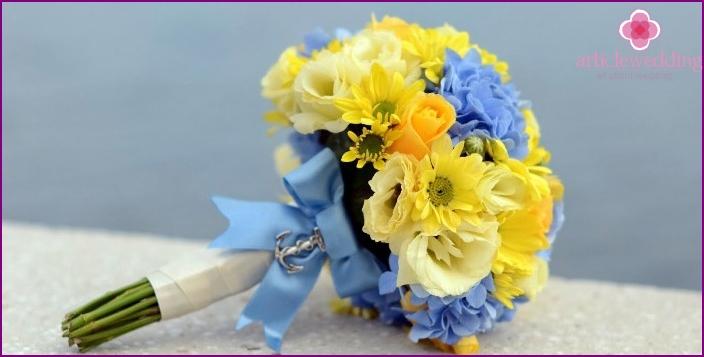 Yellow-blue wedding flowers