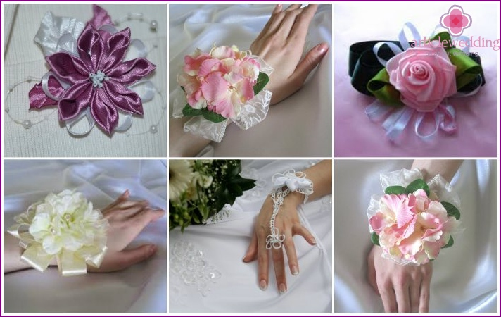 Artificial flowers in the bride's wedding bracelet