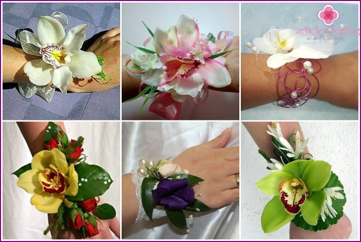 Delicate orchids in wedding mini-bouquets