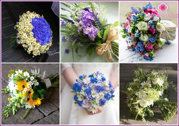Wild flowers for wedding bouquets of summer