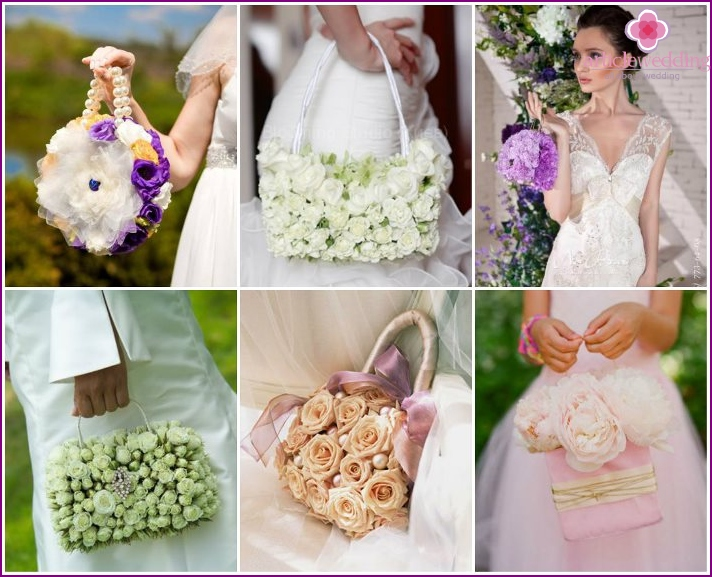 Designer handbag flower for the bride