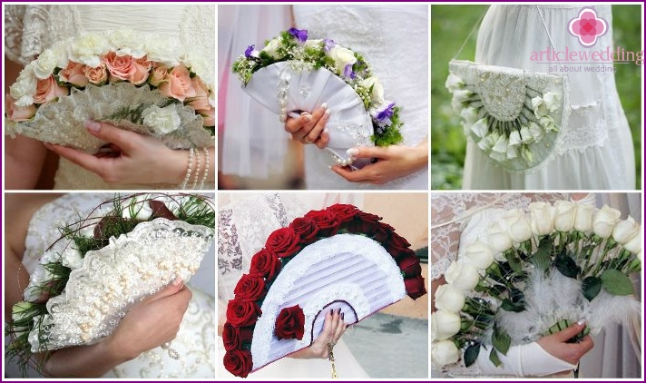 Flower fan for the bride