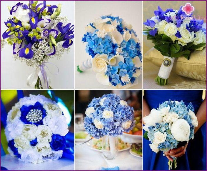 Bright blue and white bouquet of the bride