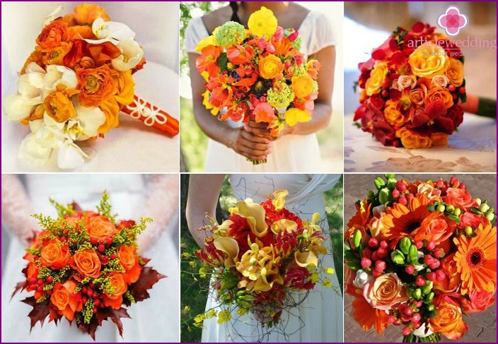 Bouquet of the bride in red and orange colors