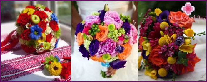 Wedding bouquet in bright colors of the rainbow