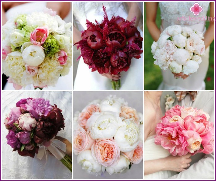 Beautiful wedding composition with peony