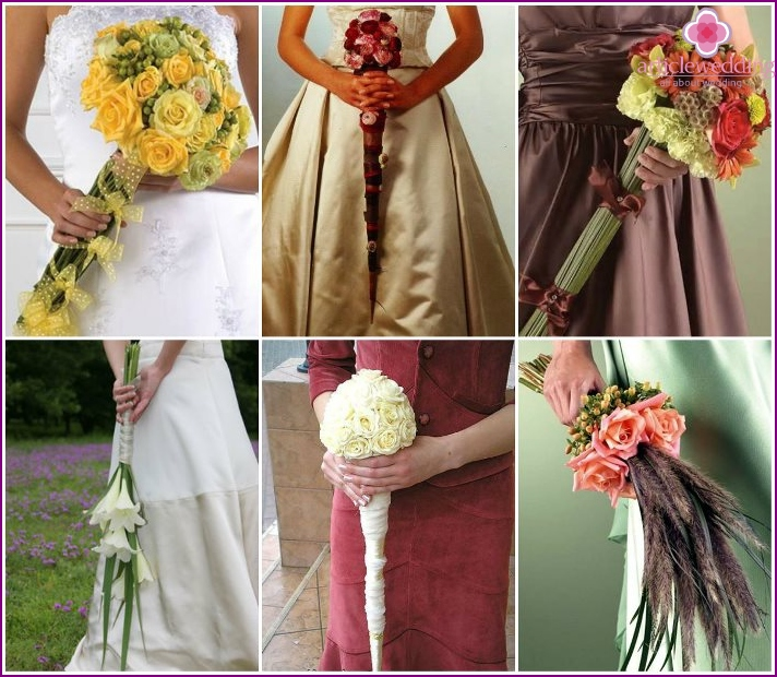Floral bouquet of the bride in the form of a wand