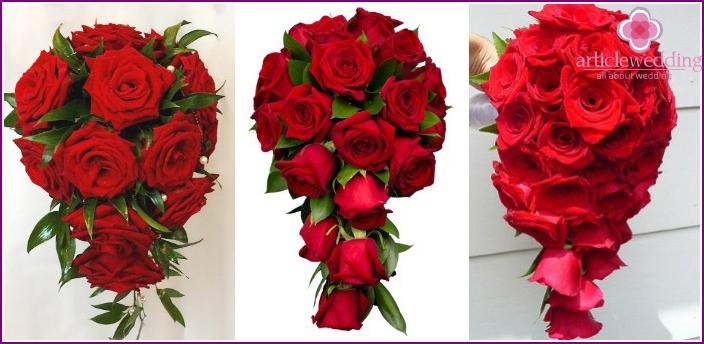 Cascading options of wedding flower arrangements