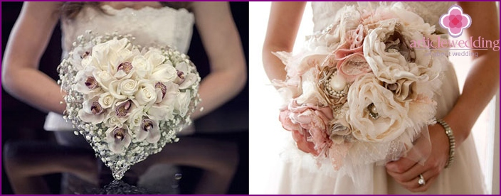 Bridal bouquet of artificial flowers