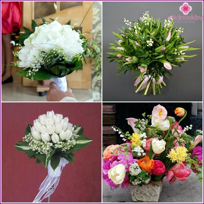 Bouquet for the bride: tulips and lilies of the valley