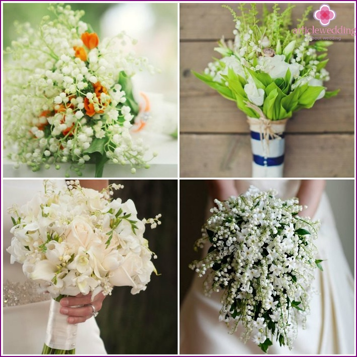 Lilies of the valley in the floral composition of the bride