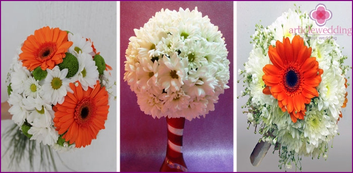 Wedding floristry with chrysanthemums