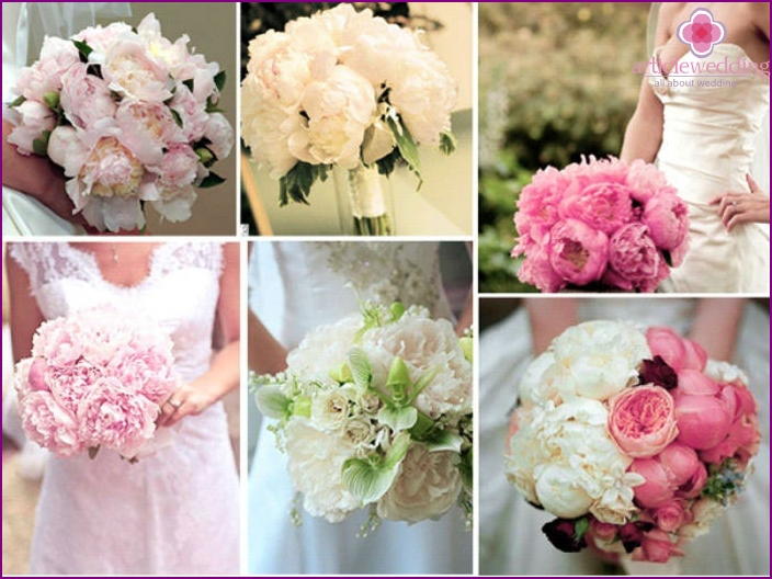 Delicate wedding flowers: peonies