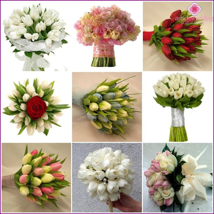 Flowers for the wedding: the composition with tulips
