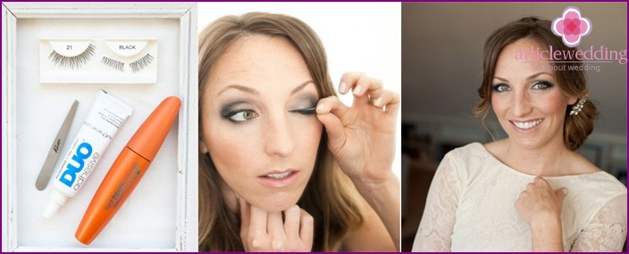 False eyelashes help to make the look more expressive