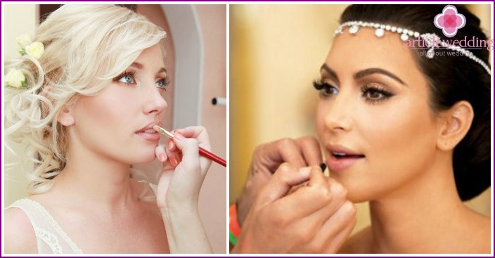 Lipstick and lip contour for the bride-blonde