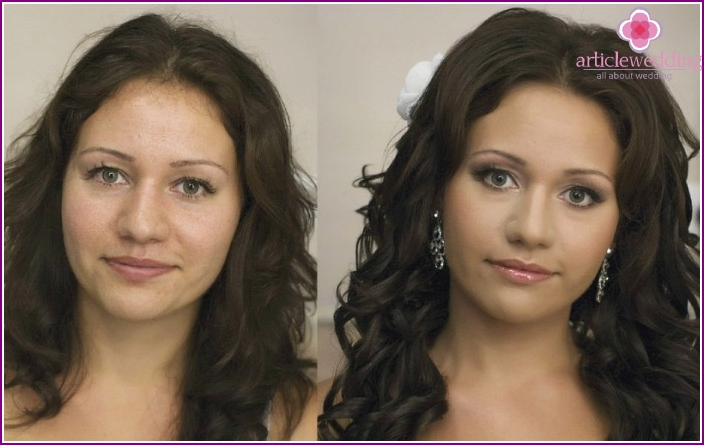 Before and after applying a festive make-up