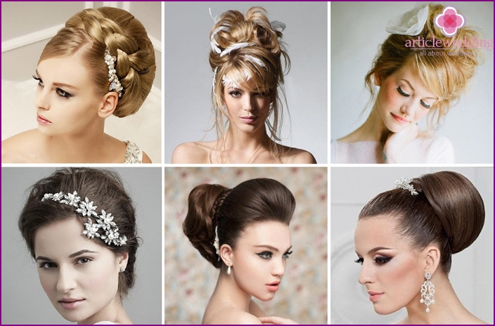 Hairstyle for wedding with a comb and a roller