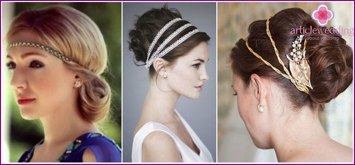 Options for hairstyles with armbands in Greek