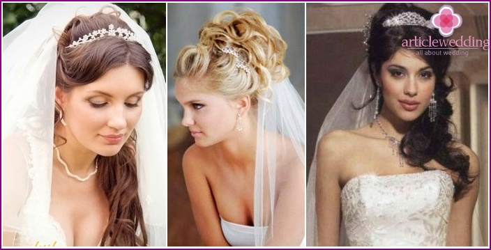 Photo: Hair in the Greek style with a veil