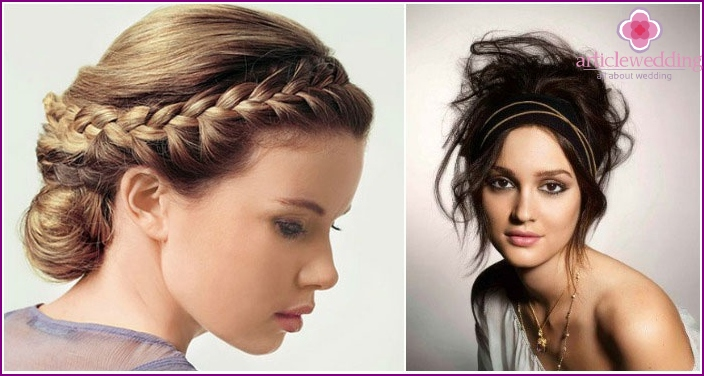Wedding Hairstyles in Greek on the hair of medium length