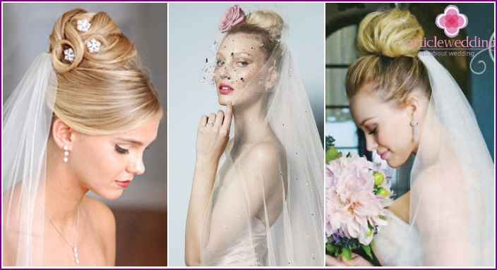 Wedding updo 2016 with a veil