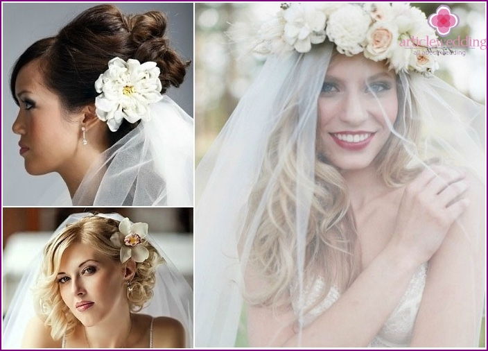 Wedding hairstyles 2016 with flowers and a veil
