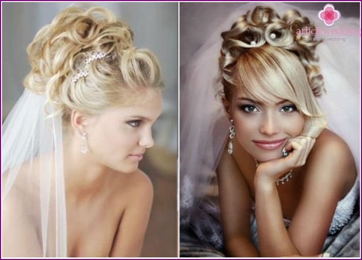 Wedding hairstyles 2016 with curls and a veil